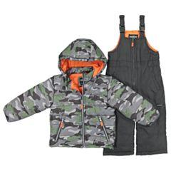 Toddler Boy OshKosh B'gosh® Camouflaged Hooded Heavyweight Jacket & Bib Snow Pants Set