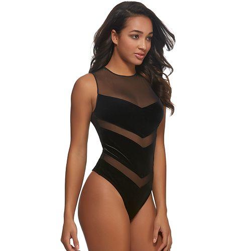 Women's Jezebel Marabelle Mesh & Velvet Thong Bodysuit 999774