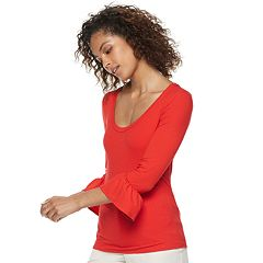 Women's POPSUGAR Ribbed Bell-Sleeve Top