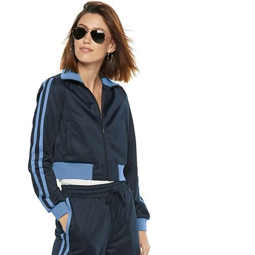 Women's POPSUGAR Side-Stripe Crop Athletic Jacket
