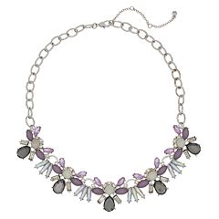 Simulated Stone Cluster Statement Necklace