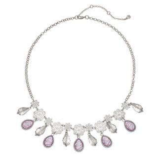 Filigree & Purple Simulated Stone Statement Necklace