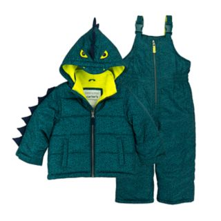 Baby Boy Carter's Alligator 3-D Spikes Heavyweight Hooded Jacket & Bib Snow Pants Set