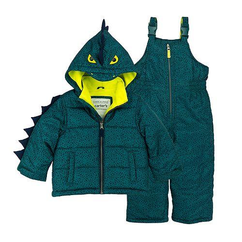 Baby Boy Carter's Alligator 3-D Spikes Heavyweight Hooded Jacket & Bib Snow Pants Set