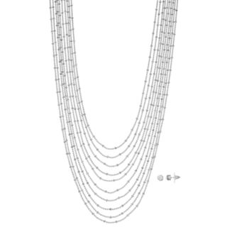 Silver Tone Beaded Multi Strand Necklace & Stud Earring Set