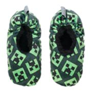 Boys 4-20 Minecraft Creeper Fuzzy Slippers