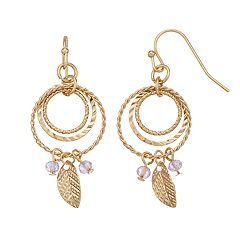 LC Lauren Conrad Nickel Free Textured Triple Hoop & Feather Drop Earrings