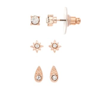Rose Gold Tone Simulated Crystal Stud Earring Set