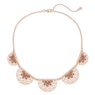 Filigree & Simulated Stone Statement Necklace