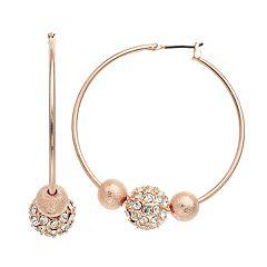 Simulated Crystal Ball Hoop Earrings