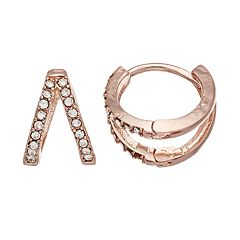 LC Lauren Conrad Rose Gold Tone Nickel Free Openwork Huggie Hoop Earrings