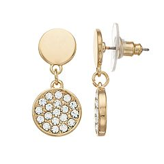 LC Lauren Conrad Gold Tone Nickel Free Double Disc Drop Earrings