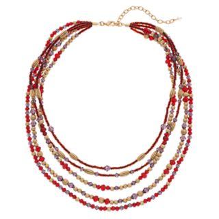 Napier Multi Colored Bead Multi Strand Necklace
