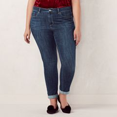 Plus Size LC Lauren Conrad Cuffed Skinny Ankle Jeans