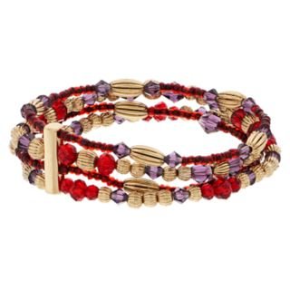 Napier Multi Colored Bead Multi Row Bracelet