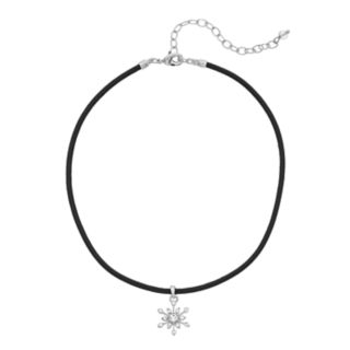 Napier Silver Tone Simulated Crystal Snowflake Burst Choker Necklace