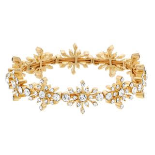 Napier Simulated Crystal Snowflake Burst Stretch Bracelet