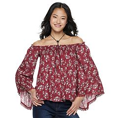 Juniors' Hint of Mint Floral Off-the-Shoulder Top & Necklace Set
