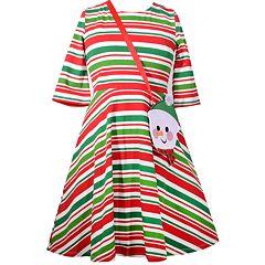 Girls 7-16 Bonnie Jean Striped Skater Dress with Snowman Purse