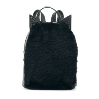 OMG Accessories Fuzzy Cat Mini Backpack