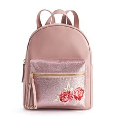 OMG Accessories Glitter Rose Mini Backpack