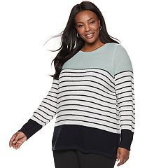 Plus Size Croft & Barrow® Seed-Stitch Color Block Crewneck Sweater