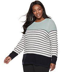 Plus Size Croft & Barrow® Seed-Stitch Color Block Crewneck Sweater