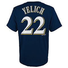 Boys 4-18 Majestic Milwaukee Brewers Christian Yelich Name & Number Tee