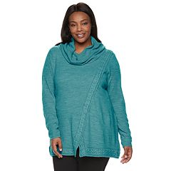 Plus Size Croft & Barrow® Cable-Knit Cowlneck Sweater