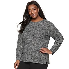 Plus Size Croft & Barrow® Seed-Stitch Crewneck Sweater