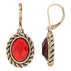 Dana Buchman Red Oval Drop Earrings