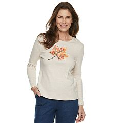 Petite Croft & Barrow® Harvest Motif Long Sleeve Top