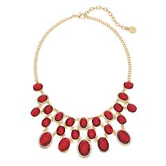 Dana Buchman Gold Tone Red Simulated Crystal Bib Necklace