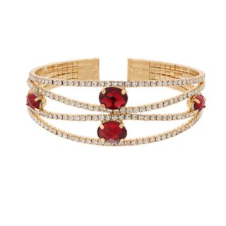 Dana Buchman Gold Tone Red Simulated Crystal Cuff Bracelet