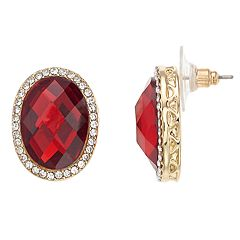 Dana Buchman Gold Tone Red Simulated Crystal Stud Earrings