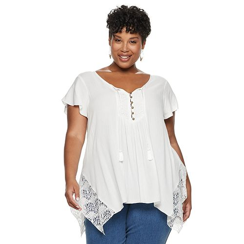 Plus Size World Unity Flutter Short Sleeve Top
