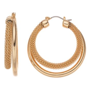 Dana Buchman Gold Tone Mesh Double Hoop Earrings