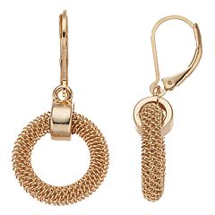 Dana Buchman Gold Tone Mesh Hoop Drop Earrings