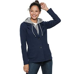 Juniors' Sebby Fleece Hooded Blazer