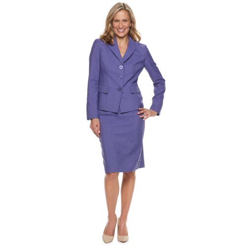 Women S Le Suit Textured Jacket Skirt Suit