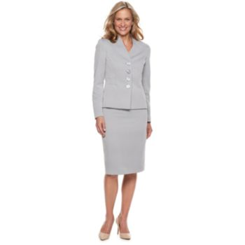 Women's Le Suit Textured Jacket & Skirt Suit