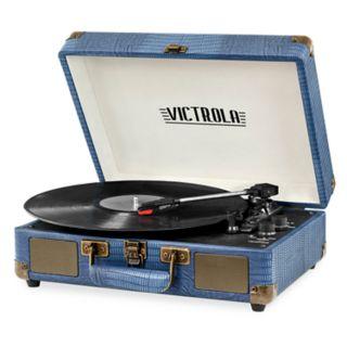 Victrola Bluetooth Suitcase Blue Lizard Turntable
