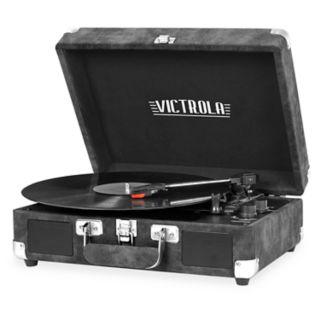 Victrola Bluetooth Suitcase Gray Lambskin Turntable