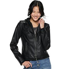 Juniors' Sebby Hooded Moto Jacket
