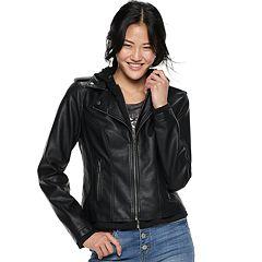 Juniors' Sebby Hooded Moto Jacket