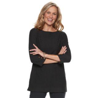 Women's Dana Buchman Button-Sleeve Jacquard Tunic