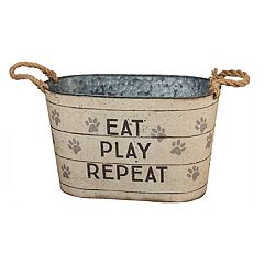 Decorative Paw Print Tin Bucket Table Decor