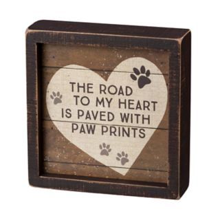 """Paw Prints """"Road To My Heart"""" Box Sign Art"""