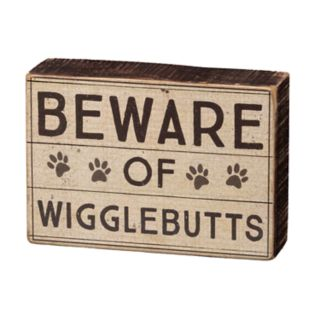 "Paw Prints ""Beware"" Box Sign Art"