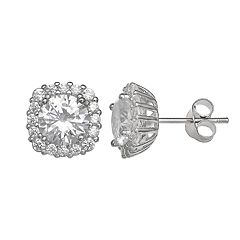 PRIMROSE Sterling Silver Cubic Zirconia Square Halo Stud Earrings